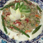 Salade de Quinoa et sa sauce au tofu et artichaut.