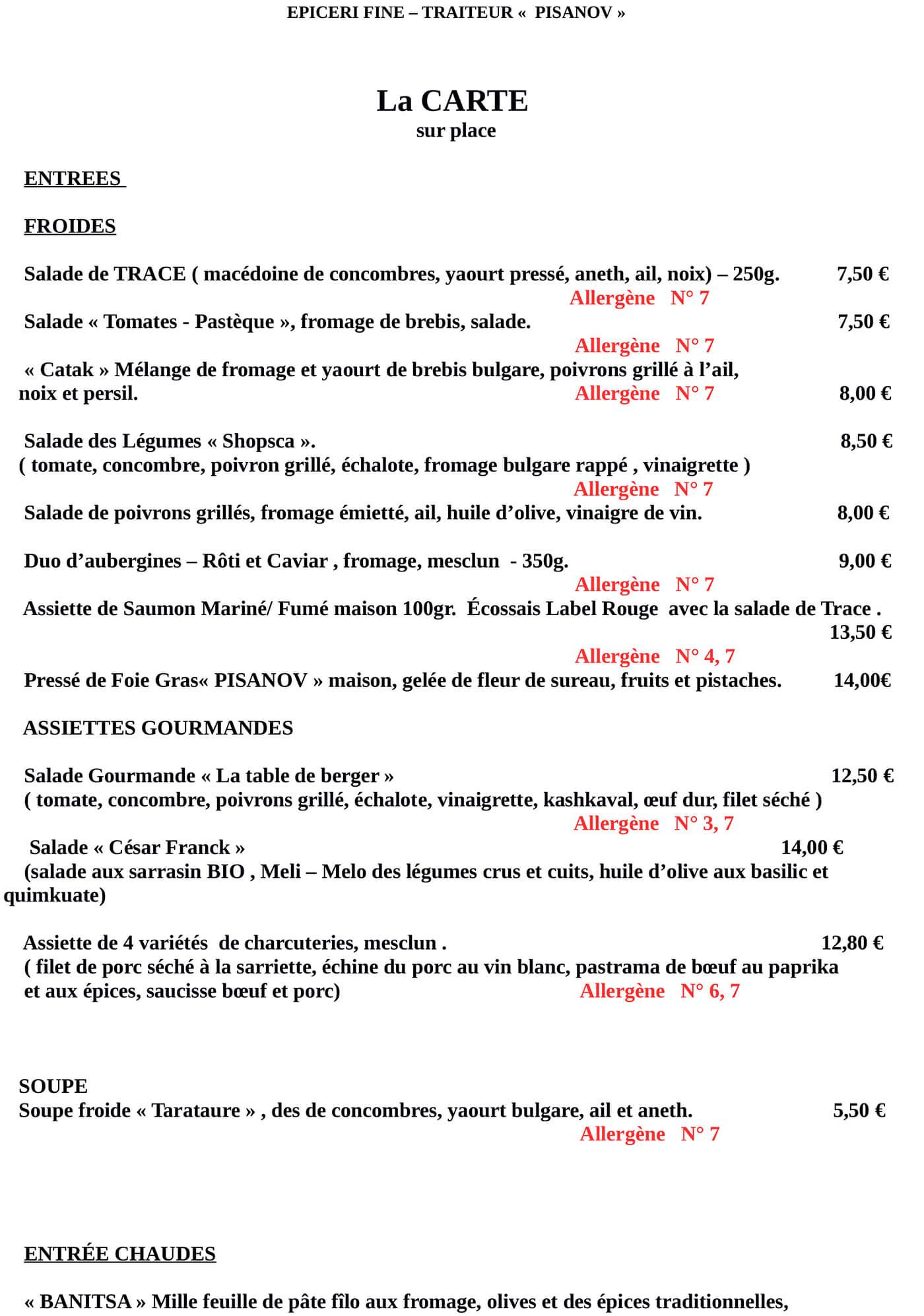 Carte du Restaurant Pisanov - 6 Rue César Franck, 75015 Paris